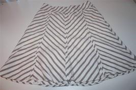 W8785 Womens Ann Taylor Loft White Striped Cotton/Linen A Line Skirt Knee Sz 2 - $14.50