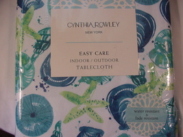 Cynthia Rowley Turquoise/Blue/Green Shells Indoor/Outdoor Tablecloth 104... - $33.00