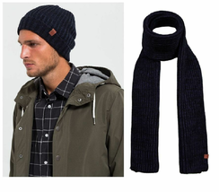 Bickley + Mitchell Navy Twist Knit Hat and Scarf Gift Box Set, OSFA - $43.55