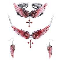 Women's Angel Wing Cross Necklace Earrings Bracelet Set image 13