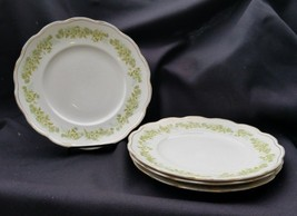 4 Antique Homer Laughlin Green Daisies In The Angelus Shape Dinner Plates - $24.00