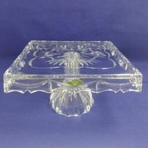 "Godinger Shannon Crystal Cake Plate 10"" Square on Pedestal in Original Box - $49.45"