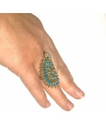 Very LARGE RaRe Zuni petit point solid 14k gold vintage ring - $4,104.00
