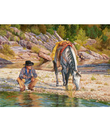 Taking Ten Begins by June Dudley Cowboy White Horse Western Canvas 12x16 - $193.05