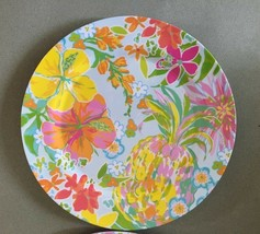 "Melamine Dinner Plates Tropical Pineapple Hibiscus Floral 2 pc set 10.5""... - $34.53"