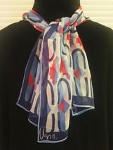 """Vintage 60s Vera Neumann """"Verasheer"""" rectangular scarf (Red, White & Blue)"""