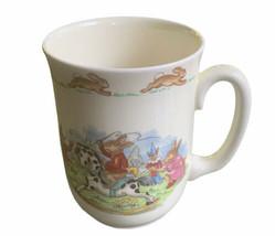 Bunnykins Royal Daulton Child's Mug Cup Bunnies Playing With Toys Outside - $12.86