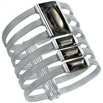 Baccarat Insomnight Mordore Black Cuff Bracelet Crystal Silver 4 Rows Small NEW - $801.90