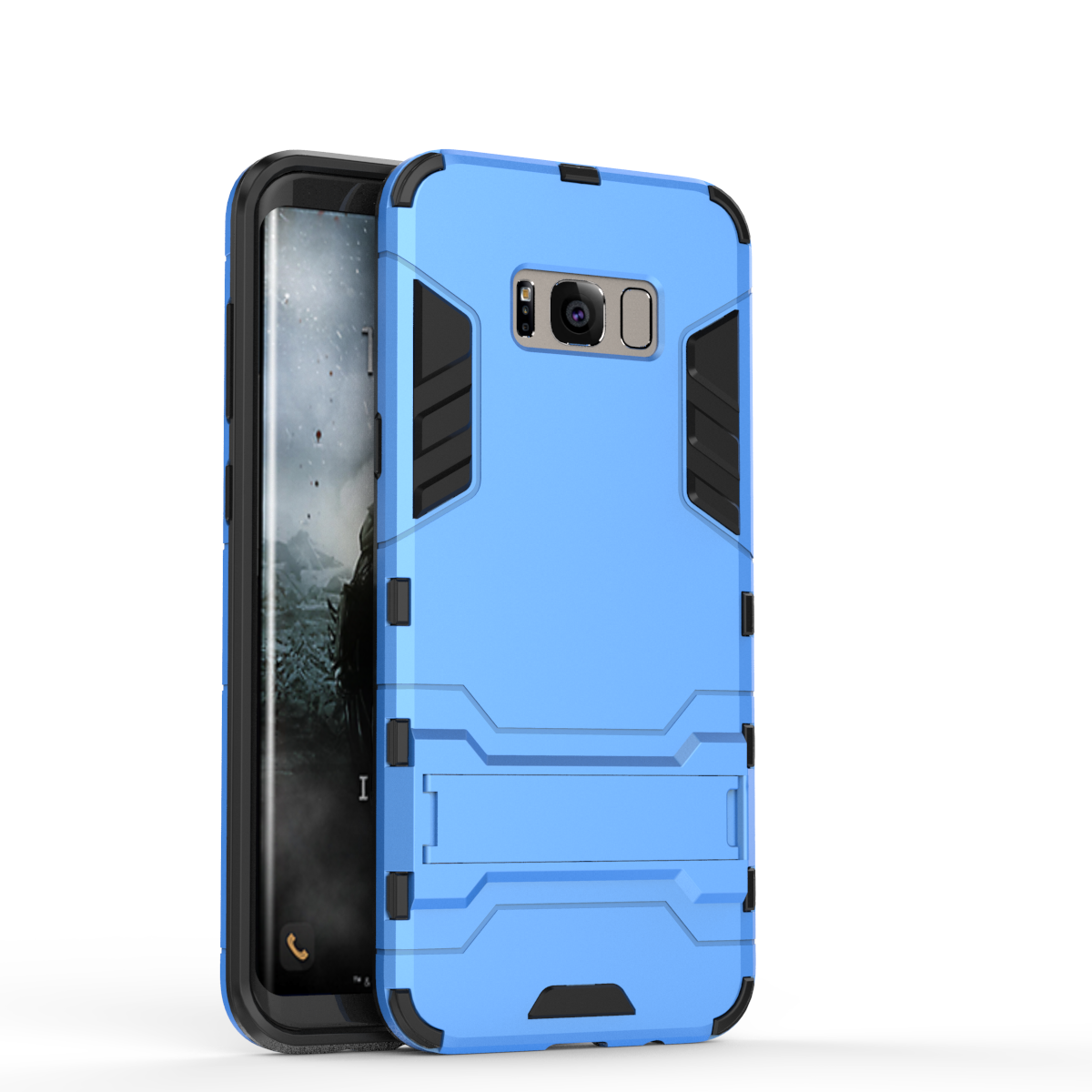 Defender Protective Case Cover with Kickstand for Samsung Galaxy S8 - Blue