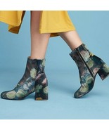 38 / 7.5 US - Miss L-Fire Anthropologie Jeanie Velvet Floral Boots NIB 1... - $110.00