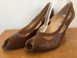 Vintage Lanvin Paris Peep Toe Brown Italian Soft Leather High Heel Pumps 8.5 39 - $41.99