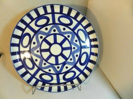 "Dansk Arabesque Sri Lanka Phillipines 11"" Deep Round Platter Blue Abstract - $59.99"