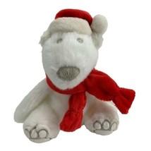 "Bath & Body Works White Christmas Santa Polar Bear Plush  8"" Hat and Scarf - $6.88"