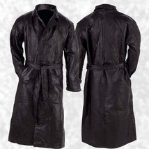 Mens Lined Black Leather Button Front Trench Over Coat Full Length Duste... - $45.78+