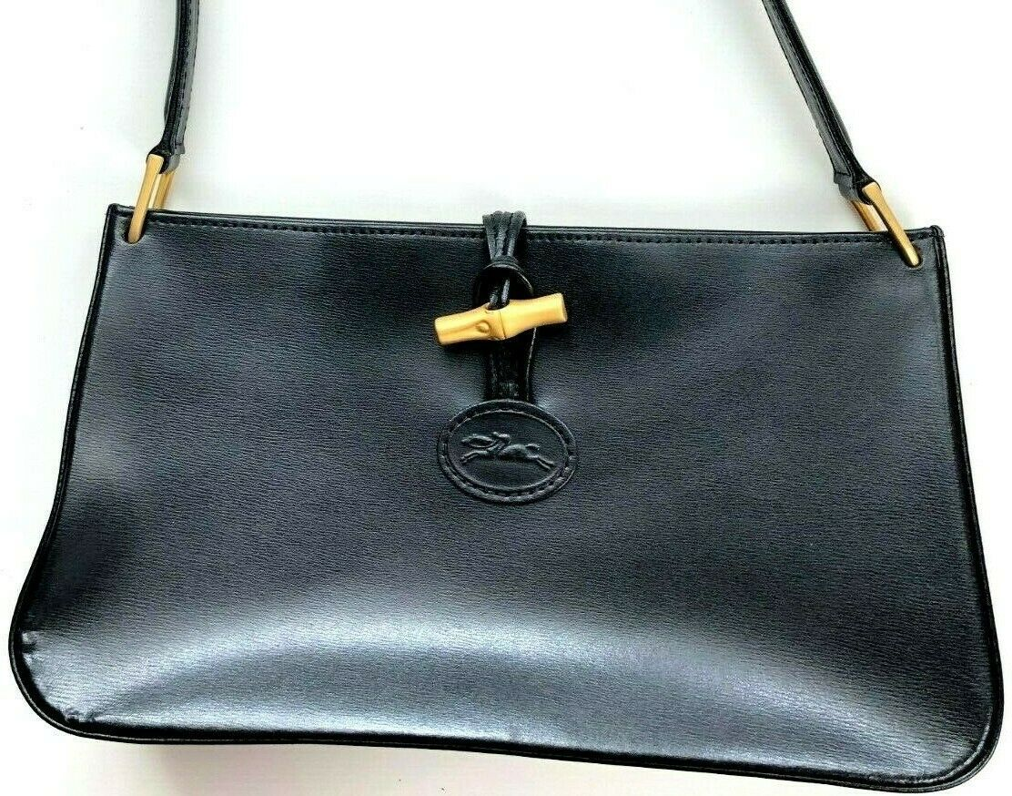 Primary image for Longchamp Roseau Small Black Leather Shoulder Bag Purse Authentic Toggle Handbag
