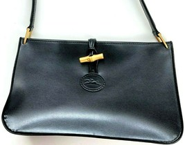 Longchamp Roseau Small Black Leather Shoulder Bag Purse Authentic Toggle... - $198.00
