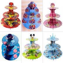 Cartoon Cardboard Cupcake Stand 3-Tier Round Tower - Children's Birthday... - $9.82