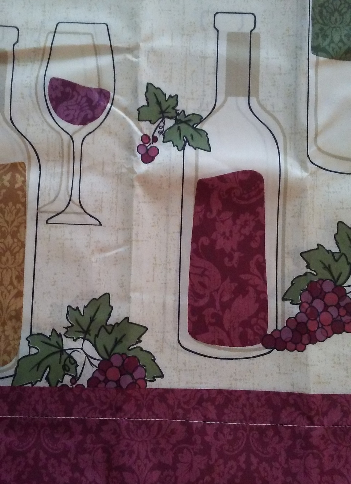 Wine Design Curtains 3-pc Tiers & Valance Kitchen Tuscan Decor Grapes Bottle NEW
