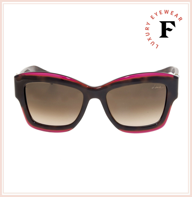 LANVIN 678 Havana Violet Pearl Brown Oversized Gradient Sunglasses SLN678S image 3