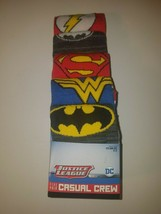 dc comics justice league mens casual crew socks 5 pairs fits shoe size 8... - $19.95