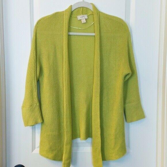 Women's LOFT Green Open Cardigan Sweater Size S