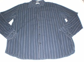 M4715 Mens Calvin Klein Blue Striped Cotton Long Sleeve Button Up Dress Shirt L - $11.65