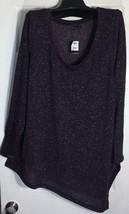 New Lane Bryant Women Top Plus Size 14-16 Glitter Purple Top Pointed Slit Bottom - $19.79