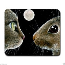 Mousepad Mouse Pad Computer Mat Cat 413 rabbit bunny moon art by L.Dumas - $15.99