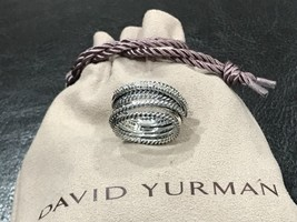 David Yurman Sterling Silver Diamond Crossover Ring Size 7.25 - $399.99