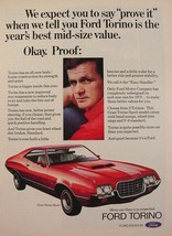 """Red 1972 Ford Gran Torino Sport """"year's best mid-size value"""" Print Ad - $9.99"""