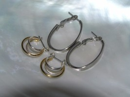 Estate Lot of 2 Oval Flattened Silvertone & Dainty Silver & Goldtone Wir... - $8.59