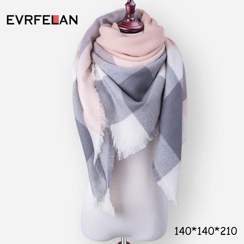 Evrfelan New Winter Scarf Fashion Women Scarf Luxury Plaid Cashmere Scarves Wome