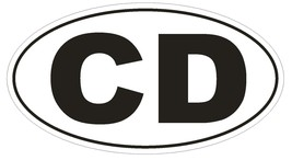 CD Congo Diplomatic Country Code Oval Bumper Sticker or Helmet Sticker D889 - $1.39+