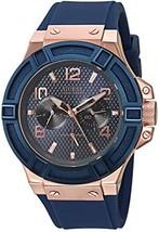 GUESS Men's U0247G3 Rigor Blue & Rose Gold-Tone Silcone Casual Sport Watch - £153.48 GBP