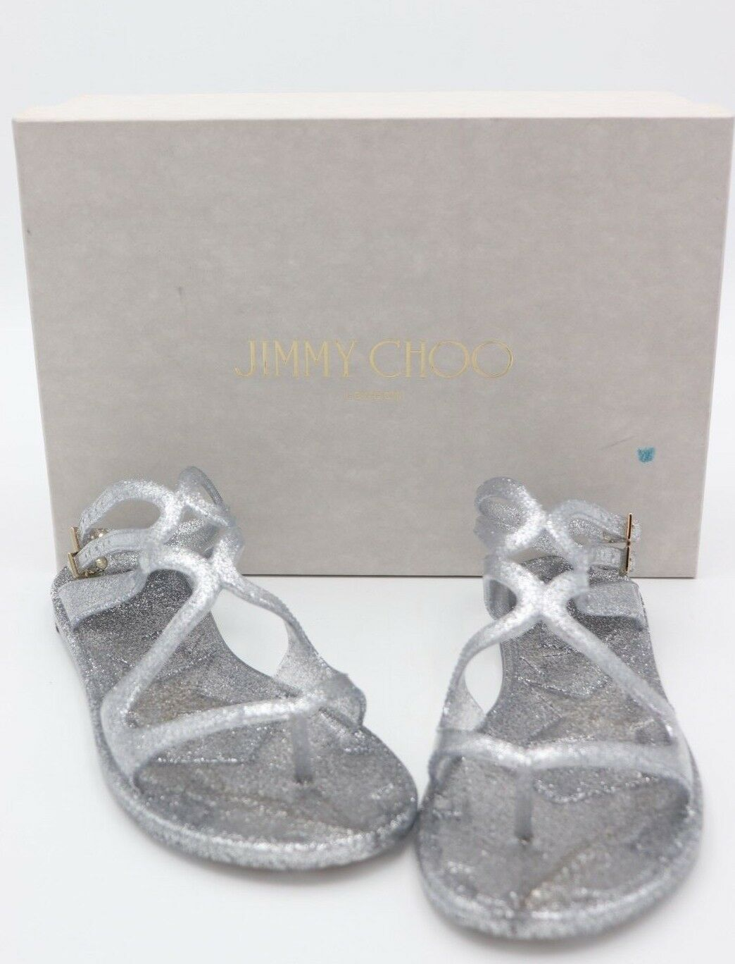 NIB Jimmy Choo Lance Silver Metallic Glitter Rubber Jelly Sandals 7 37 New