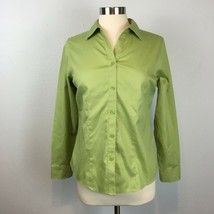 Chico's Women's Green Button Front Non-Iron Shirt Size 0 XS Extra Small - $17.27