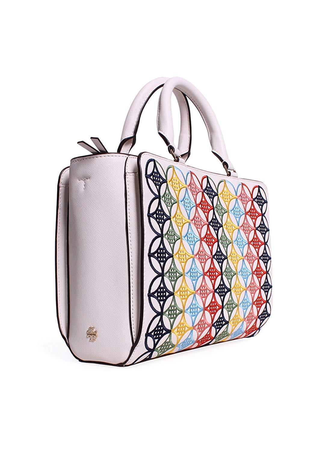 Tory Burch Robinson Embroidered Small Zip Tote in New Ivory Multi image 2