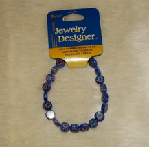 Darice Loose Beads Millefiore Blue & Red with Floral Pattern Design - $6.99