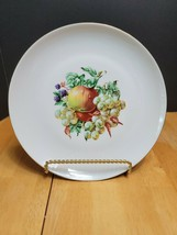 Naaman Israel Dinner Plate White with Multicolored Fruit Center Apples &... - $8.86