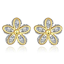 Betsey Johnson Goldtone Pink Flower Crystal Cluster Stud Earrings $32 - $7.83