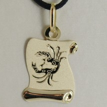 18K YELLOW GOLD ZODIAC SIGN MEDAL, CANCER, PARCHMENT ENGRAVABLE MADE IN ITALY image 1