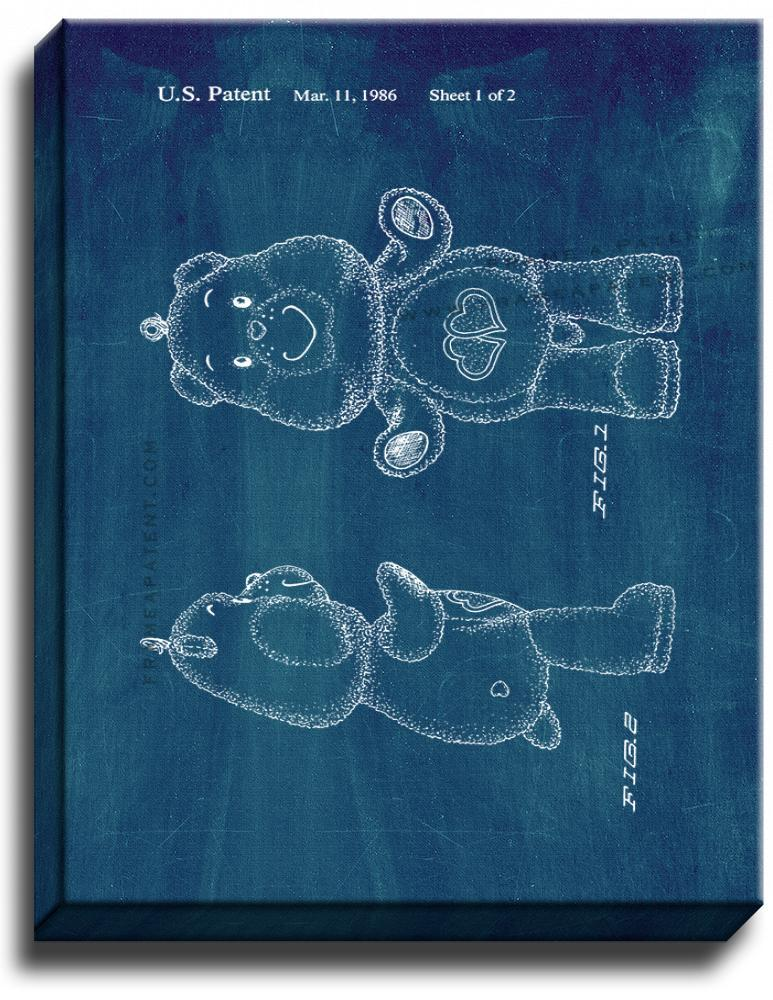 Primary image for Love a Lot Care Bear Patent Print Midnight Blue on Canvas