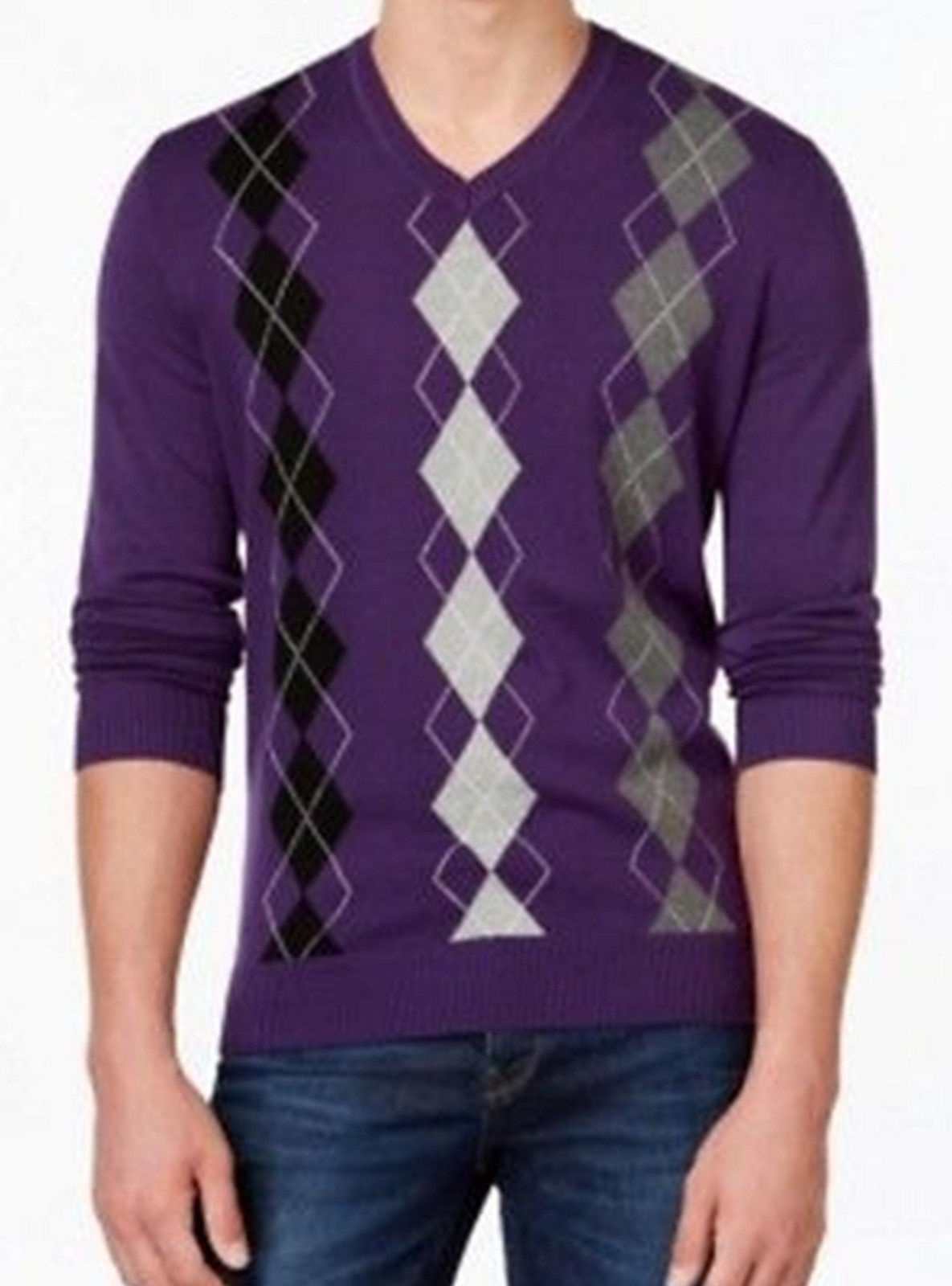 Club Room Men's Purple Argyle Print V-neck Cotton Knit Pullover Sweater