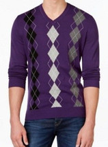 Club Room Men's Purple Argyle Print V-neck Cotton Knit Pullover Sweater - £30.68 GBP