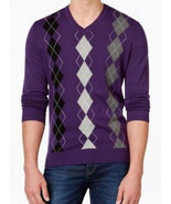 Club Room Men's Purple Argyle Print V-neck Cotton Knit Pullover Sweater - £30.44 GBP