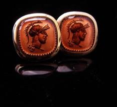 Knight cufflinks / vintage gold set / roman cufflinks / cameo jewelry / ... - $95.00