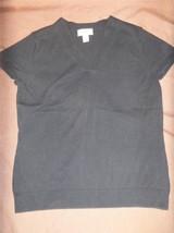W6797 womens TALBOTS navy blue V NECK short sleeve stretch fall sweater sz M - $12.60
