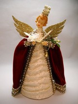 CHRISTMAS Angel VINTAGE in Red Cap CREAM Dress GOLD Wings PEARL Accents - $37.86