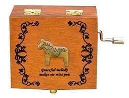 PANDA SUPERSTORE Horse Classic Wooden Mini Clockwork Musical Box Decorative Box