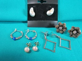 LOT of 5 Pairs Vintage Pierced Post Earrings Silver & Mixed Metal Tones ... - $2.55